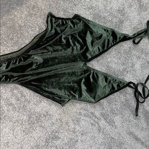 Green velvet one piece